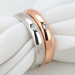 Simple CZ Diamond Lovers Ring 18K Gold Plated CZ Diamond Flush Setting Wedding Band Ring for Women