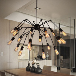 Wholesale Spider Adjustable Chandelier Vintage Wrought iron Pendant Light Retro Style Lighting Fixture Heads Chandelier