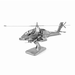 Wholesale D Metal Puzzle AH64 Apache Fighter Military Airplane Stainless Steel Model Children DIY Laser Cutting Jigsaw Assembly Toys
