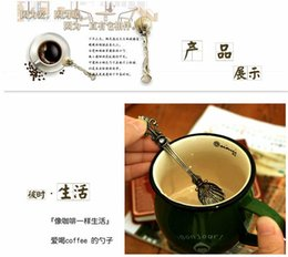 Wholesale 300pcs Unique Retro Vintage Antique Palace Carved Coffee Shell Spoon Tea Ice Cream Scoop Ice cream Gift