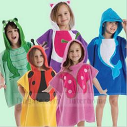 Wholesale Baby Beach Towels Animal Print Robes Kids Cartoon Bath Bathrobe Swim Poncho Cotton Hooded Cloak Blankets Pajamas Sleepwear Bath Gown B1013