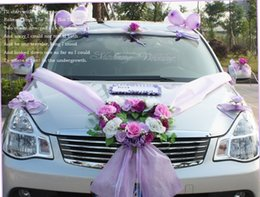 Wholesale fashion wedding car Artificial silk flower garland and balloon with sucker for wedding party car decoration pink and purple color w033