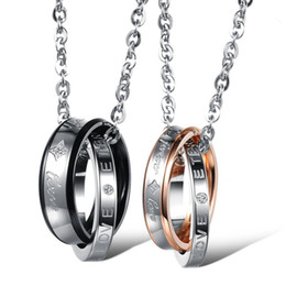 """Wholesale Couple Forever - Fashion EU Style """"Forever Love"""" Engraved Interlocking Double Rings Couple Necklace Set Stainless Steel Lovers Promise Jewelry"""
