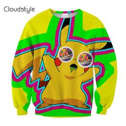 Wholesale-New Fashion Autumn Winter Men Women Hoodies Brand Clothing 3D Printing Pikachu Sweatshirt Funny Printed Cartoon Hoodies Pullover