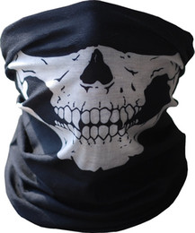Canada Black Seamless Multi Function Skull Face Tube Masque Echarpe Balaclava pour CS Moto Vélo et plein air scarf tube polyester on sale Offre