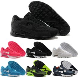 2016 New Running Shoes Air Cushion 90 KPU Men Women High Quality Sneakers Cheap All black Sports Shoes Free Shipping Size 36-45