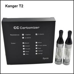 Atomizadores al por mayor en Línea-Venta al por mayor 100% auténtico Kanger T2 atomizador 2.4ml CC Clearomizer con reemplazo largo bobina de mecha de cabeza Tanques de colores VS Kangertech T3S