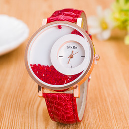 Wholesale New Arrival luxury PU Leather Quicksand Rhinestone clock women Quartz Watch womens watches orologi donna gift