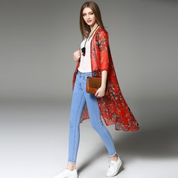 Wholesale 652 Hot sale new summer and autumn thin section printing Slim was thin elongated cardigan luxuty women shirt