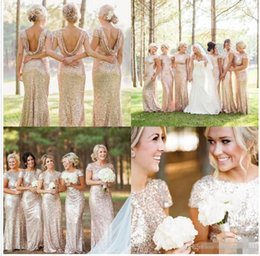 Glitter Rose Gold Cheap 2019 Mermaid Backless Bridesmaid Dresses Cap Sleeve Sequins Plus size Beach Wedding Gown Light Gold Champagne