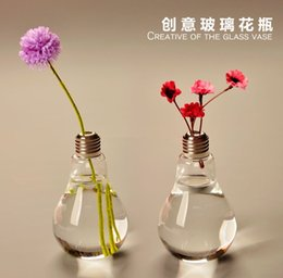 Wholesale Crystal Glass Vaso cm Lamp Light Bulb Tabletop Flower Vase Dinner Planter Terrarium Container Pots Wedding Decor Terrarium