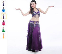 New Belly Dance Costume Set 3 Pcs (bra+skirt+belt) Suit Belly Dancing Clothes 11Color Bellydance Professional Dancewear Free Shipping