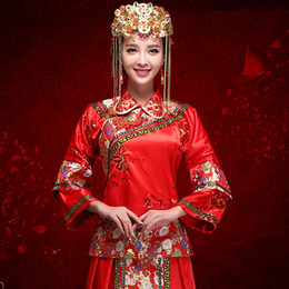 Wo Xia red Chinese clothing show bride wedding dress long wedding cheongsam dress suit women toast show kimono