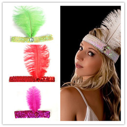Wholesale Flapper Headband s Flapper Sequin Charleston Costume Headband Band Party Ostrich Feather Plume Hairband mixed more colors
