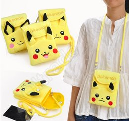 À double bourse de portefeuille en Ligne-Pikachu Plush double couche Téléphone Wallet sac de cou chaîne Messenger Cartable Coin Purse Bag Cartoon Wallet Housse OOA836