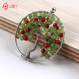 Wholesale 10Pcs Silver Plated Natural Olivine Gravel Tree of Life Red Round Beads Pendant Necklace Charm Jewelry