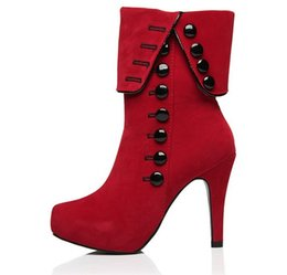 Women Ankle Boots High Heels 2015 Fashion Red Shoes Woman Platform Flock Buckle Winter Boots Ladies Shoes Female Botas Femininas