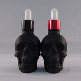 Wholesale HOT ML Matte Black Skull Bottle Glass Dropping Bottles E Juice Empty Bottles Skull E Liquid Children Cap Can labe