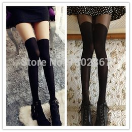 Wholesale 2015 Cute Girl Women Sexy Sheer False High Stocking Pantyhose Fashion Over the Knee Tattoo Tights