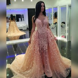 Arabic Evening Dresses With Detachable Train Plunging Appliques Backless Pageant Dress Sheer Neck Tulle Vestidos Celebrity Prom Dress