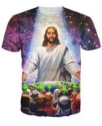 Wholesale Women men summer space galaxy t shirts Religion Jesus Died For Your Sims d t shirt unisex casual crewneck tee shirts costume