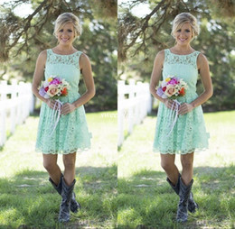 2019 Country Mint Green Lace Short Mini Bridesmaid Dresses Formal Dress For Junior And Adult Bridesmaid Knee Length Wedding Party Dresses