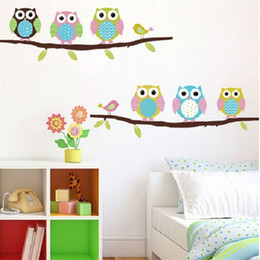 Wholesale owls on tree wall stickers for kids rooms decorative adesivo de parede pvc wall decal animal mural art cartoon posters