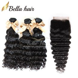 Brazilian Hair Weave HairExtensions 3Bundle With Closure OneTop Closures(4x4) Deep Wave Human Hair Weave Weft 4pcs lot 8A Bellahair