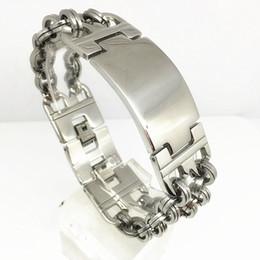 Wholesale Special offer Inventory Goods Punk Men s Stainless Steel Bracelet mm Link Style Bracelet Double Buckles Silver Color