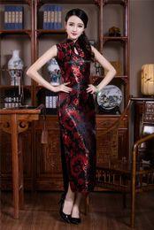 Free shipping New Sexy Chinese Womens Clothing Long Cheongsam Dress Cheongsam Sleeveless Qipao dress traditional chinese dress 3 color