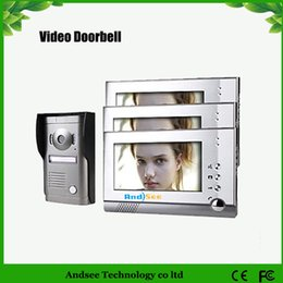Three 7 Inch Touch Screen Color Video Door Phone System with Alloy Weatherproof Cover Camera HA2DB06