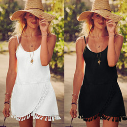 Fringe Tassel Beach Dress Women plus size Loose dress Sexy Sleeveless Aysmmetrical Women Summer Dress Robe Vestidos Women Clothes Boho Beach