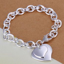Wholesale Hot sale silver plated Bracelets Chain Exquisite double heart brand bracelets new listings high quality fashion jewelry Christmas gifts