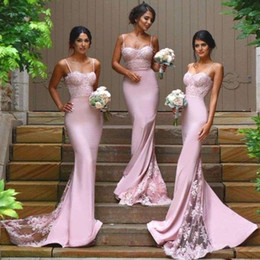 Cheap Bridesmaid Dresses 2019 Country Junior Honor Of Maid Formal Gown For Wedding Party Guest With Spaghetti Straps Backless Custom Made