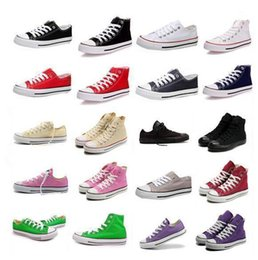 Wholesale FREE SHIP NEW size35 New Unisex Low Top High Top Adult Women s Men s Canvas Shoes colors Laced Up Casual Shoes Sneaker shoes retail