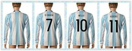 Wholesale Fast Argentina HIGUAIN DI MARIA MESSI Blue white stripe Jerseys Soccer Jersey Long Sleeve Copa America Jersey