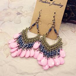 Wholesale Buy Got Free Bohemia Earrings Vintage Tibetan Silver Bronze Resin Gem Drop Earings Dangle Earrings Jewelry For Women