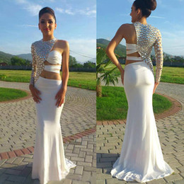 Wholesale Single Sleeve Illusion Prom - Sparkly 2016 Latest White Chiffon Crystal Beaded Prom Dresses Mermaid Style Sexy Jewel Single Long Sleeves Sweep Train Party Gowns EN5051