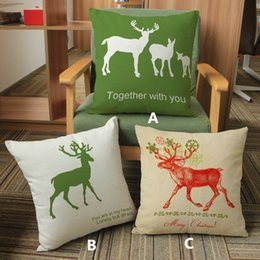 2017 New Green White Christmas Cartoon creative deer Elk printed pillow Home Sofa linen cotton velvet cushion cover 45*45cm