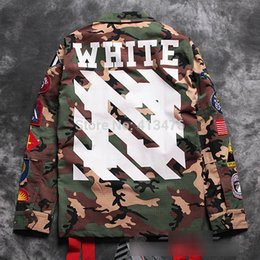 Wholesale best quaity newest hip hop OFF white kanye west virgil abloh stripe print men windbreaker camo embroidery badge JACKET coat