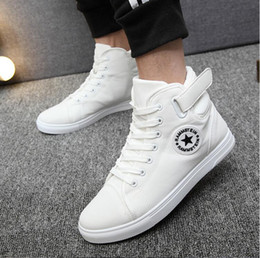 Hot Sell Spring New Korean High-Top Men Shoes Casual Fashion Breathable Canvas Shoes Men Star Lace-Up Flats Ankle Boots Men Cow Muscle Sole