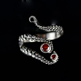 Hot Sale Handmade Octopus Ring Seductive Tentacle in ancient silver Plating red Rhinestone by Octopus hand rings fo