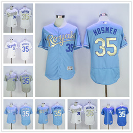 Wholesale 2016 Flexbase MLB Kansas City Royals Eric Hosmer Jersey KC Baby Blue Grey Gold Letter