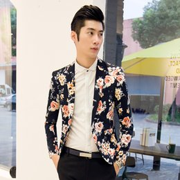 Wholesale Slim Dresses Korea - New Arrival 2016 Flower Printed Blazers Mens Floral Dress Suits Fancy Blazer Jacket Slim Fit Club Party Korea Fashion Clothing