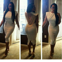 2016 Newest ! Fashion Pearl Women Party Dress Hot Sale Crew Neck Cap Sleeve Back Split Under Knee Length Backless Night out Club Dress