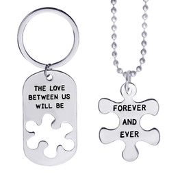 Wholesale The Love Between Us Will Be Forever And Ever Lovers Puzzle Letter Engraved Dog Tag Keychain Necklace Valentine s Fathers Day Gift