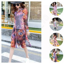 Wholesale 20pcs LJJG214 Women Summer Thin Sheer Cardigan Shirts UV Protection Coat Long Sleeve Floral Printing Silk Sunscreen Blouse Beachwear S XL