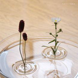 Wholesale European creative waves floating type transparent glass vase vase hydroponic flowers
