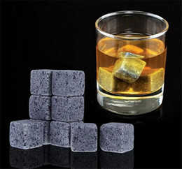 Wholesale Natural Whiskey Stones set Whisky Stones Cooler Whisky Rock Soapstone Ice Cube With Velvet Storage Pouch A014