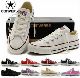 Wholesale 2016 Unisex original real converse low high shoes white black casual shoes converse all star shoes women men canvas lovers Free Ship